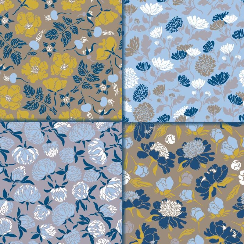 Jogo de testes padrões florais sem emenda Texturas com a flora para superfícies, papel do prado, envoltórios, fundos, scrapbookin ilustração stock