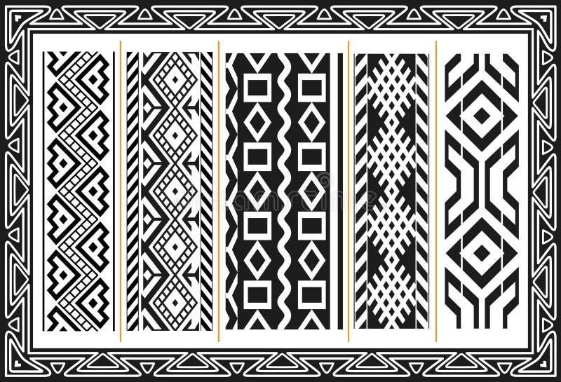 Jogo de testes padrões indianos americanos antigos ilustração royalty free