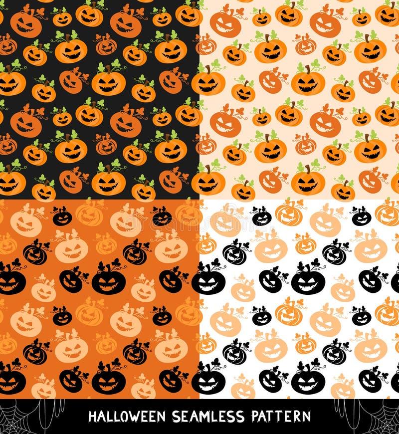 Jogo de testes padrões sem emenda de Halloween ilustração stock
