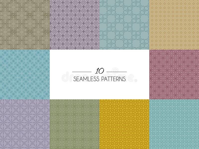 Jogo de testes padrões sem emenda geométricos ilustração stock