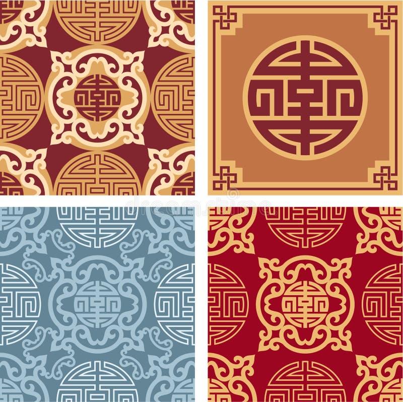 Jogo de testes padrões sem emenda orientais ilustração royalty free