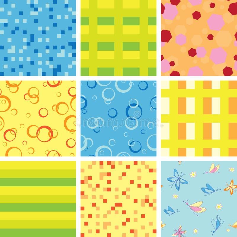 Jogo de texturas claras sem emenda geométricas ilustração stock