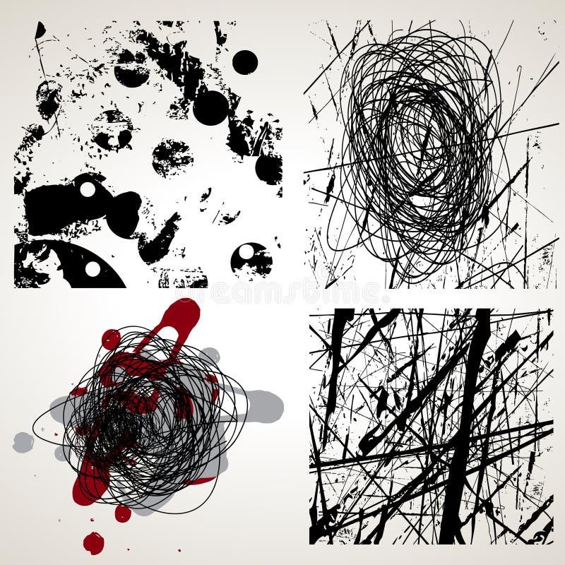 Jogo de texturas do vetor do grunge ilustração stock