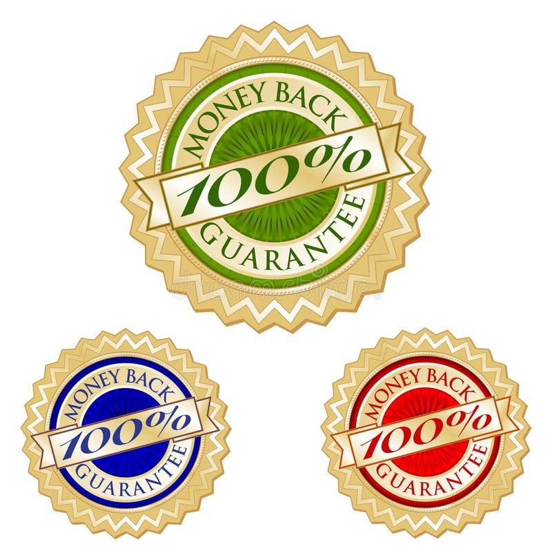 Jogo de três 100% selos traseiros do emblema da garantia do dinheiro ilustração do vetor