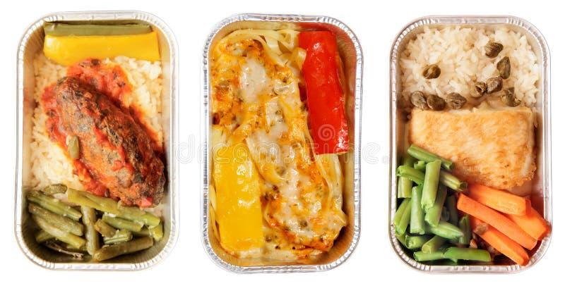 Jogo de três pratos da linha aérea fotos de stock