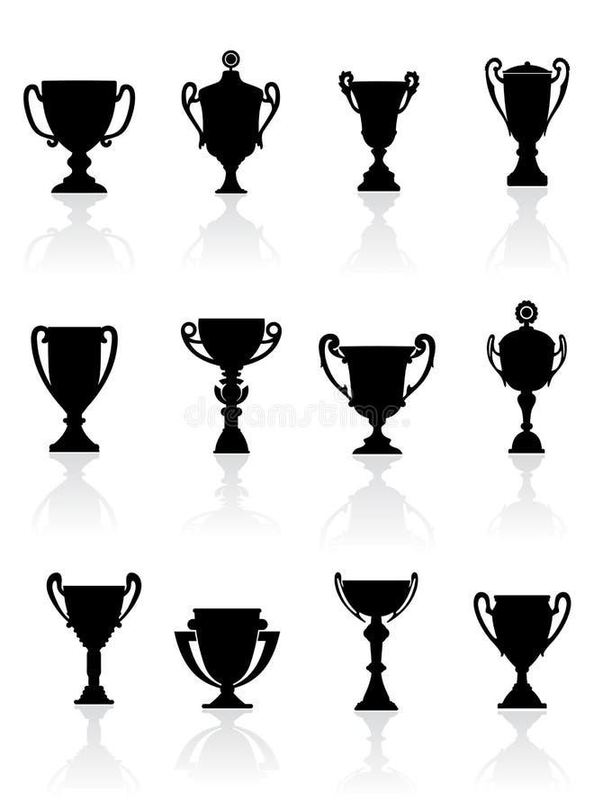 Jogo de troféus dos esportes ilustração do vetor