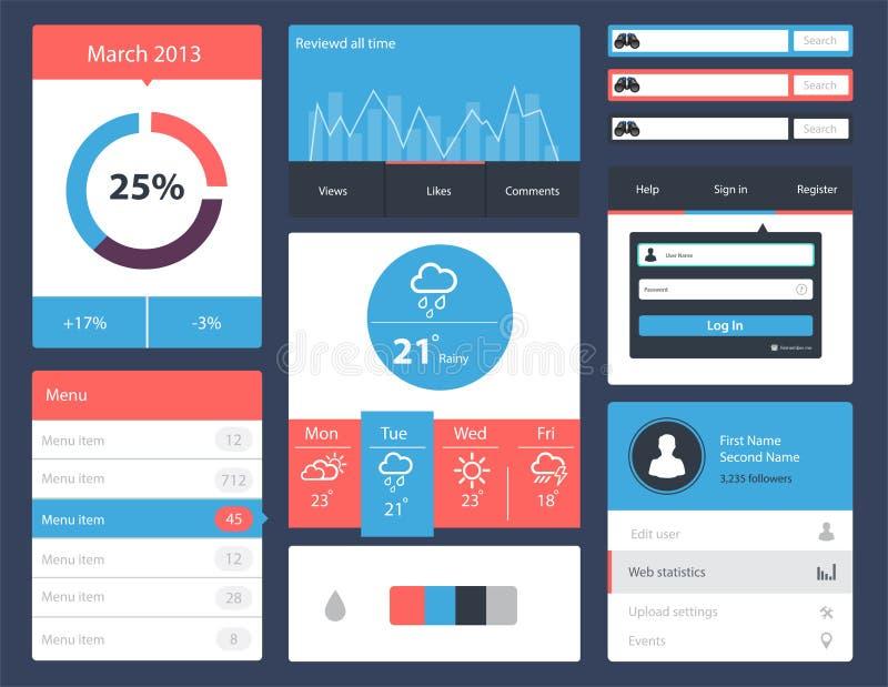 Jogo de Ui para o Web site e projetos móveis do app ilustração do vetor