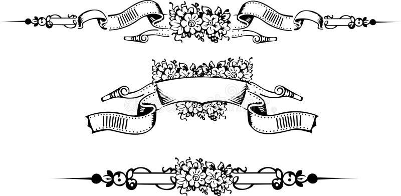 Jogo de uma bandeira ornamentado da flor da cor ilustração royalty free