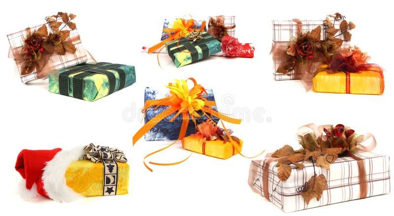 Jogo de vários presentes de Natal fotografia de stock royalty free
