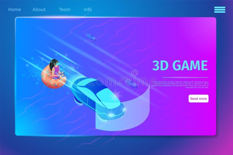 Jogo de vídeo do jogo da menina que conduz o carro usando vidros de VR ilustração stock