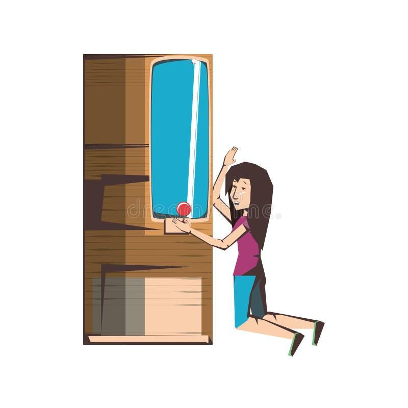 Jogo de vídeo do jogador da mulher com console da máquina ilustração stock