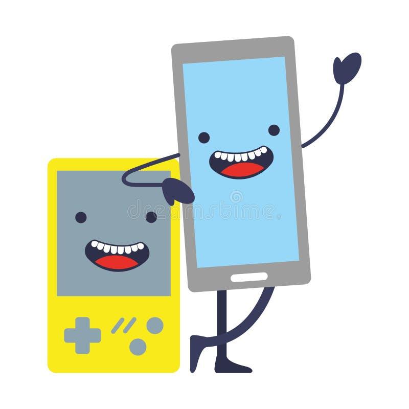 Jogo de vídeo portátil com kawaii do smartphone ilustração royalty free