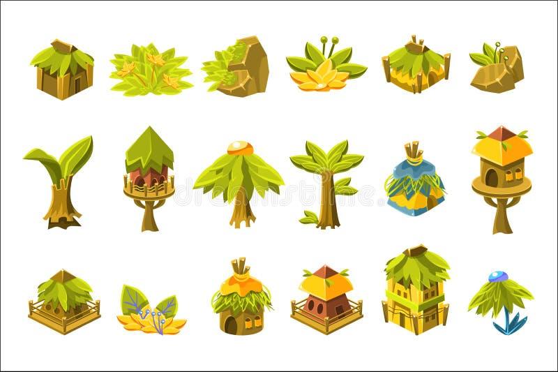 Jogo de v?deo Forest Design Collection Of Elements tropical ilustração stock