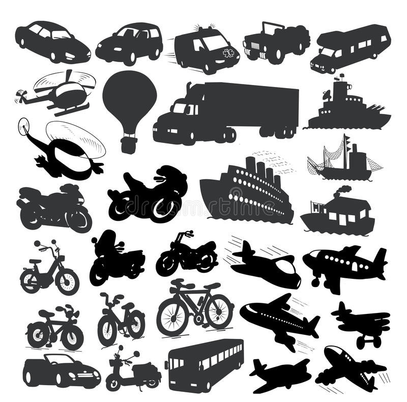 Jogo de veículos diferentes ilustração royalty free