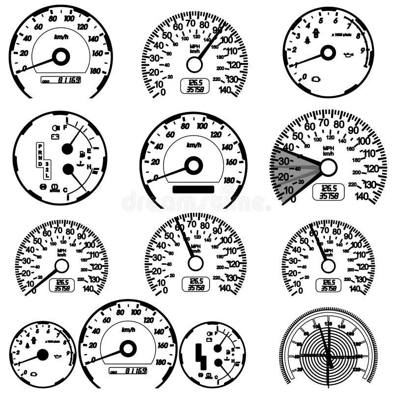Jogo de velocímetros do carro ilustração royalty free