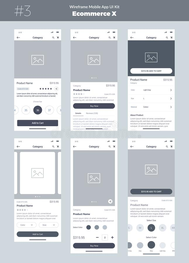 Jogo de Wireframe para o telefone celular App móvel UI, projeto de UX Produto novo do comércio eletrónico do ósmio ilustração stock