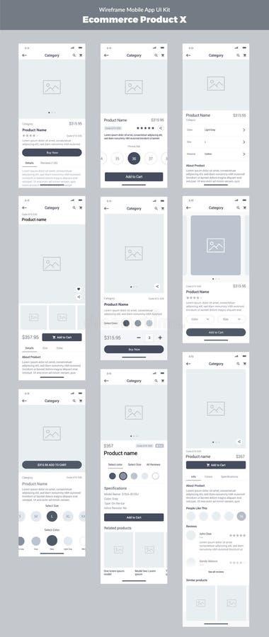 Jogo de Wireframe para o telefone celular App móvel UI, projeto de UX Produto novo do comércio eletrónico ilustração royalty free