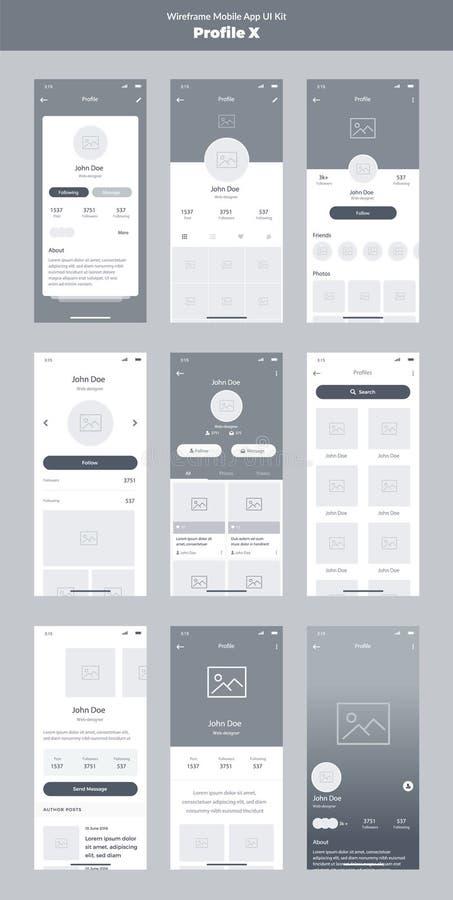 Jogo de Wireframe para o telefone celular App móvel UI, projeto de UX Telas novas do perfil ilustração royalty free
