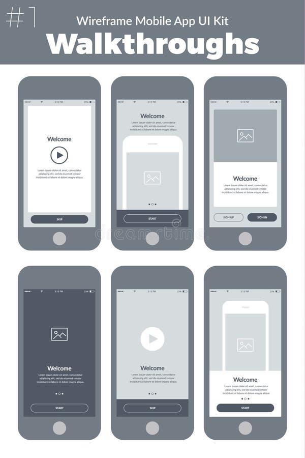 Jogo de Wireframe UI para o telefone celular Telas móveis dos procedimentos do App ilustração stock