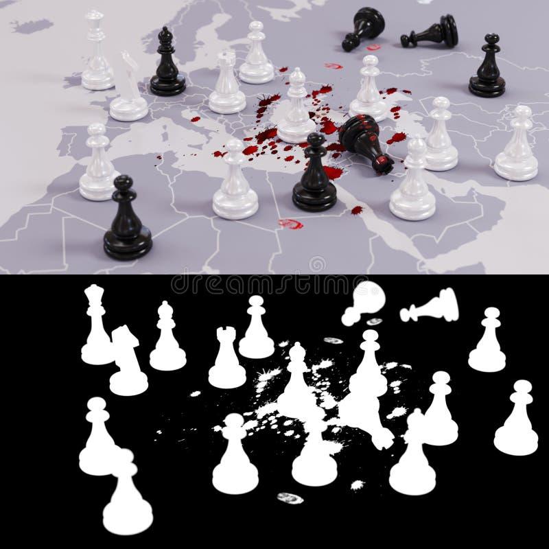 Jogo de xadrez geopolítico ensanguentado imagens de stock