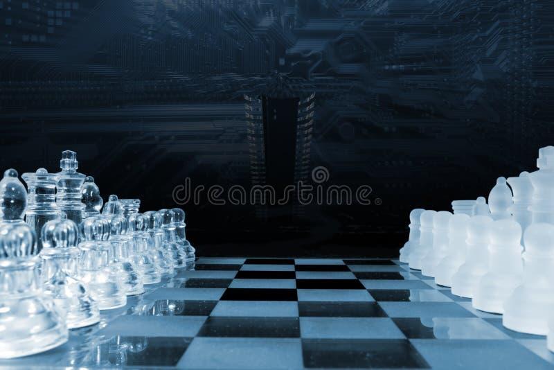 Jogo de xadrez jogado pela inteligência artificial imagem de stock