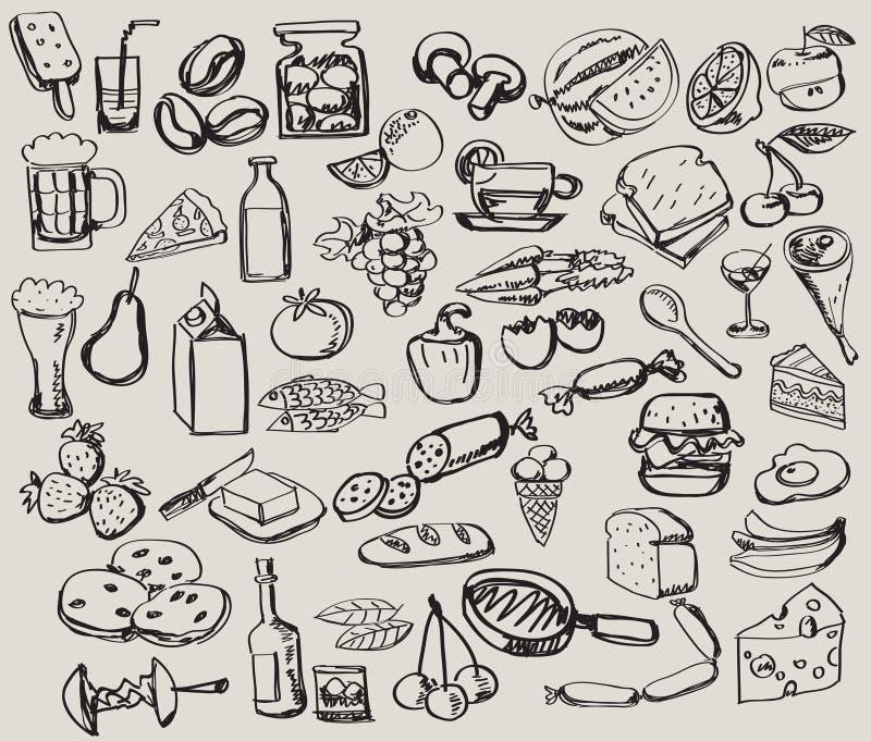 Jogo desenhado mão: cozinha - alimento ilustração royalty free