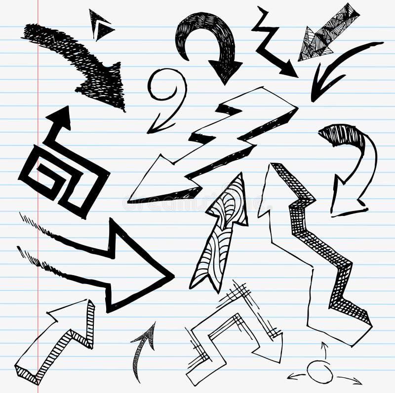 Jogo desenhado mão da seta ilustração stock