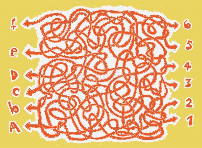 Download Jogo Desenhado Mão Do Labirinto De ABC Ilustração do Vetor - Ilustração de labirinto, enigma: 29842243