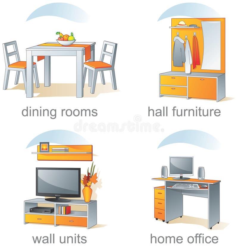 Jogo do ícone, artigos home da mobília ilustração royalty free