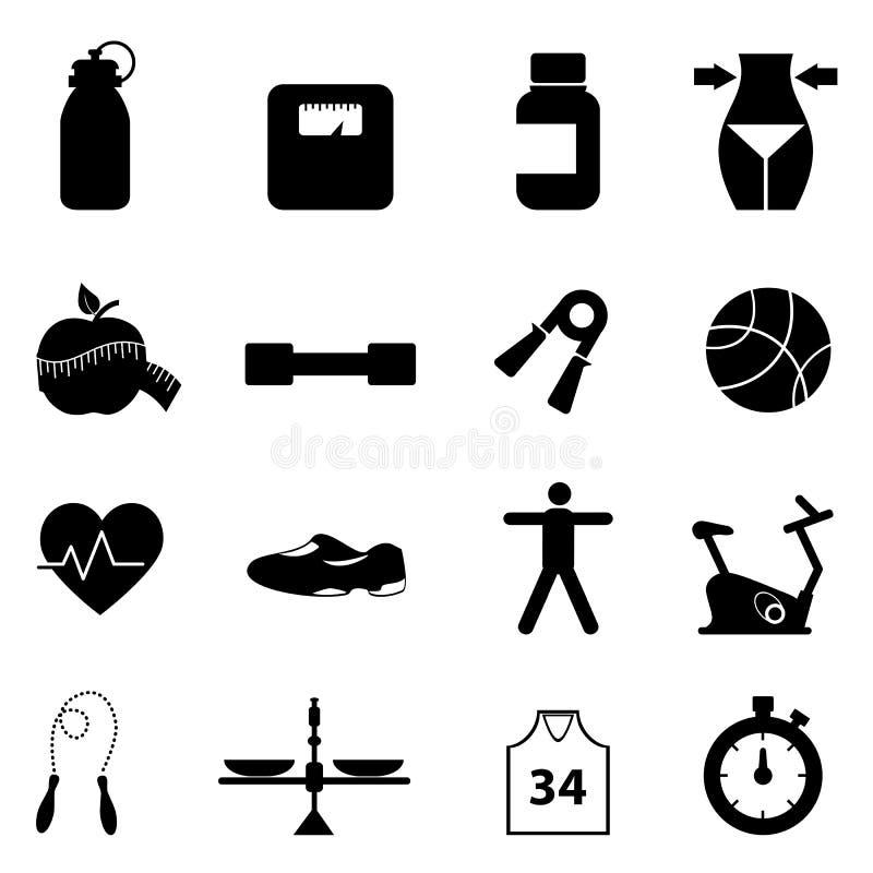 Jogo do ícone da aptidão e da dieta ilustração stock