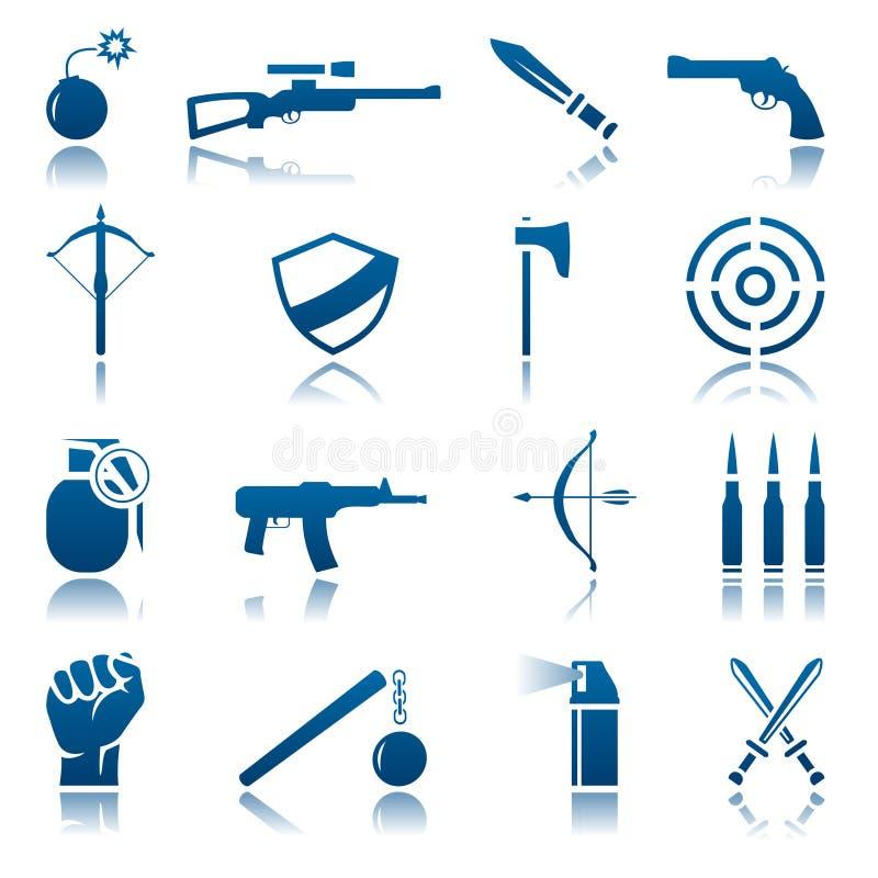 Jogo do ícone da arma ilustração stock
