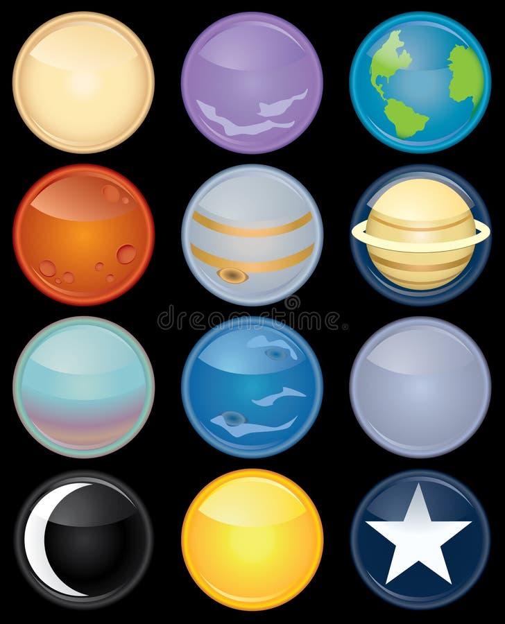 Jogo do ícone da astronomia ilustração stock