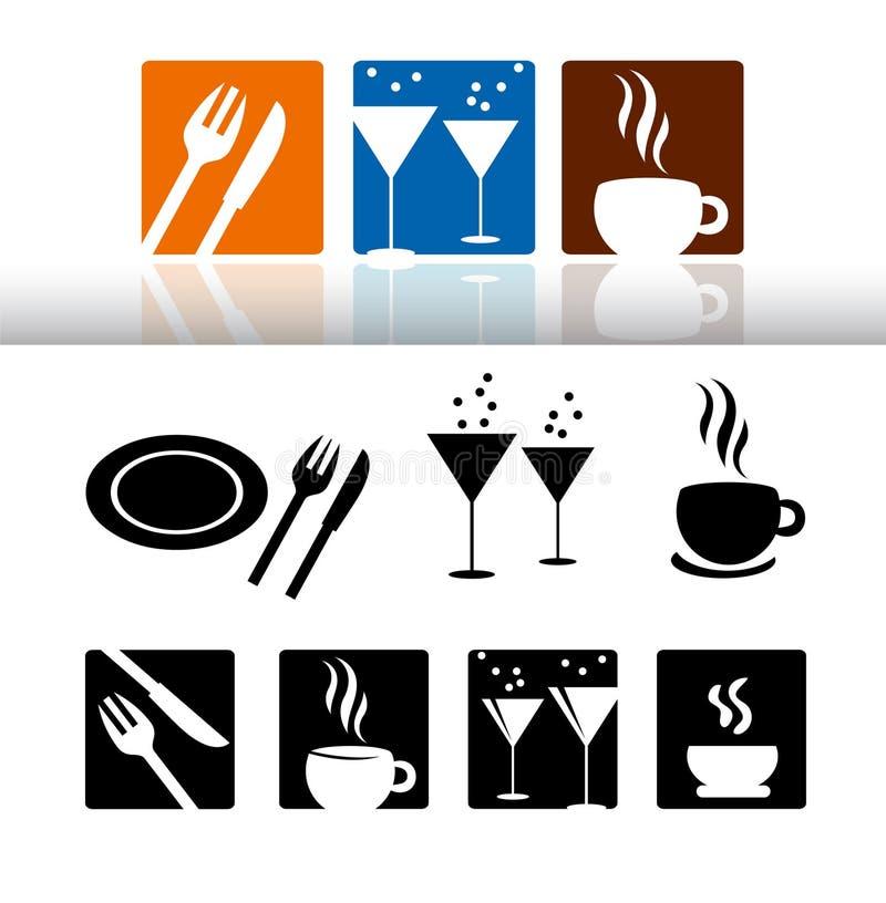 Jogo do ícone da barra & do restaurante ilustração stock