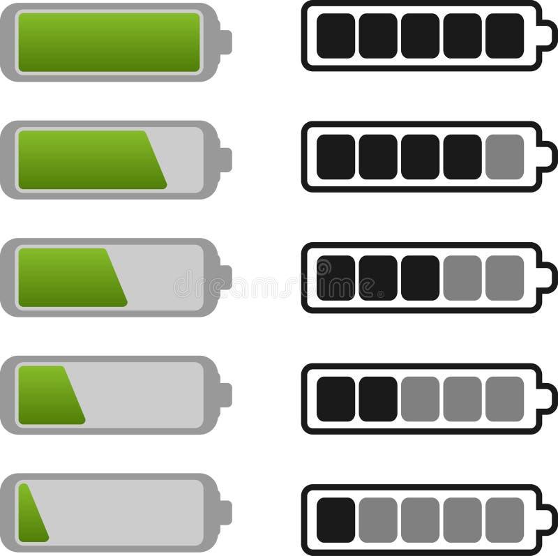 Jogo do ícone da bateria ilustração stock