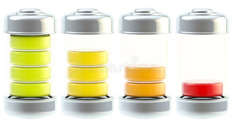Jogo do ícone da carga da bateria isolado ilustração stock