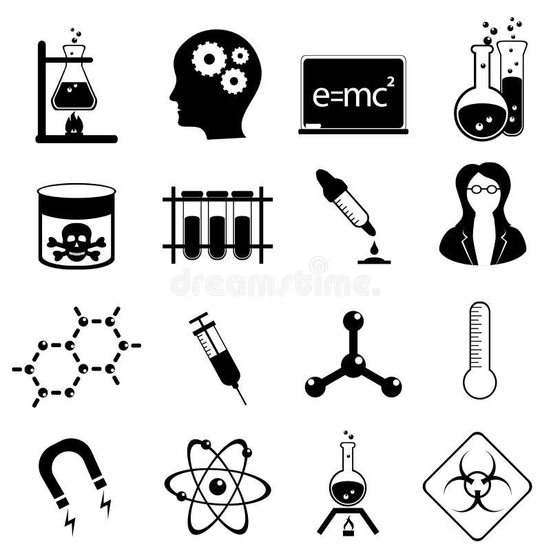 Jogo do ícone da ciência ilustração stock