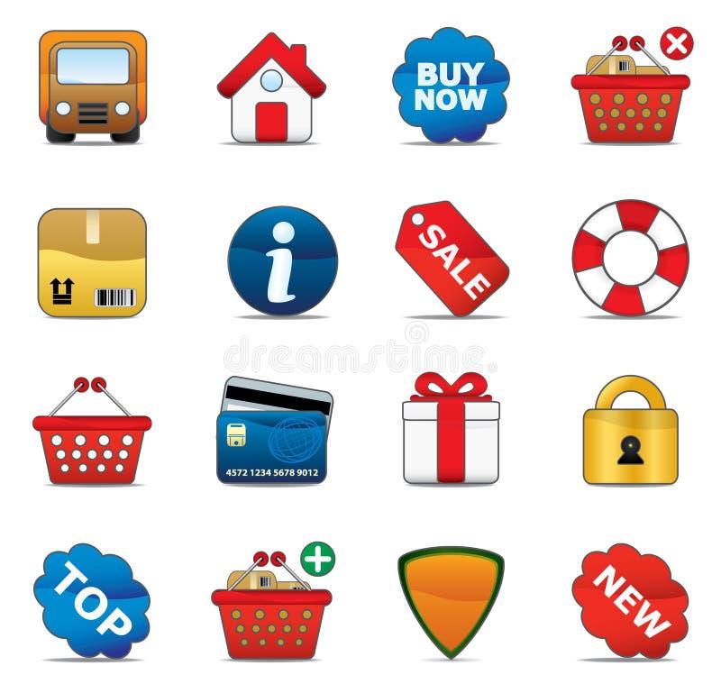 Jogo do ícone da compra ilustração stock