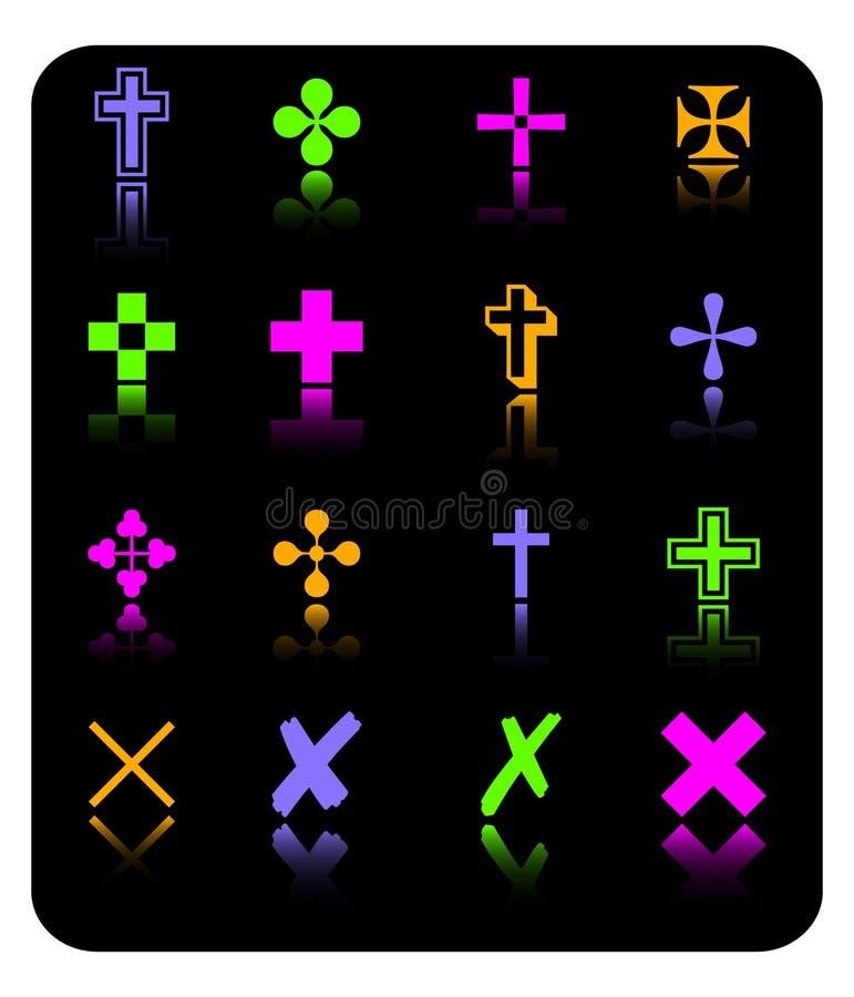 Jogo do ícone da cruz da cor do vetor ilustração stock