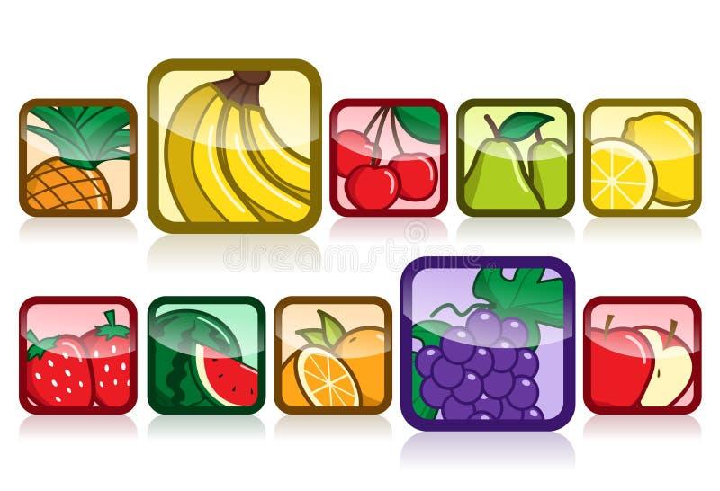 Jogo do ícone da fruta ilustração do vetor