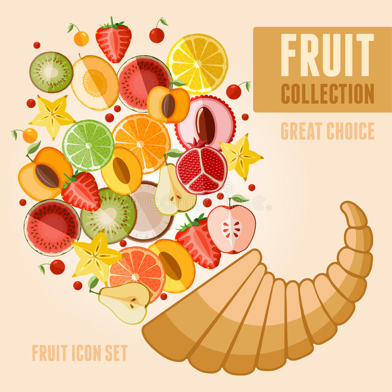 Jogo do ícone da fruta ilustração royalty free