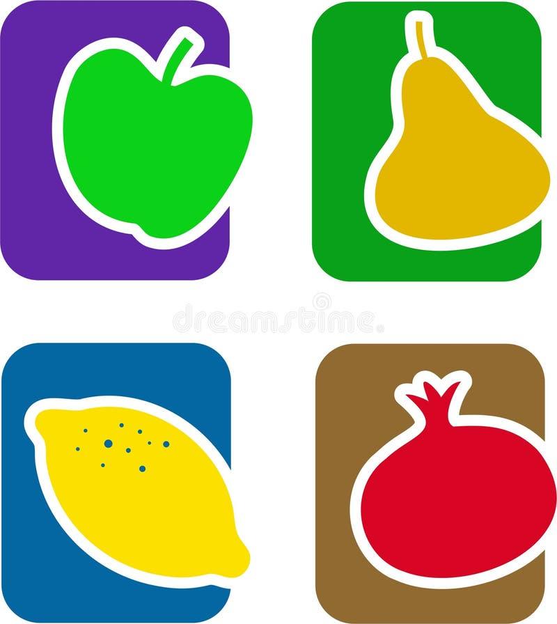 Jogo do ícone da fruta ilustração stock
