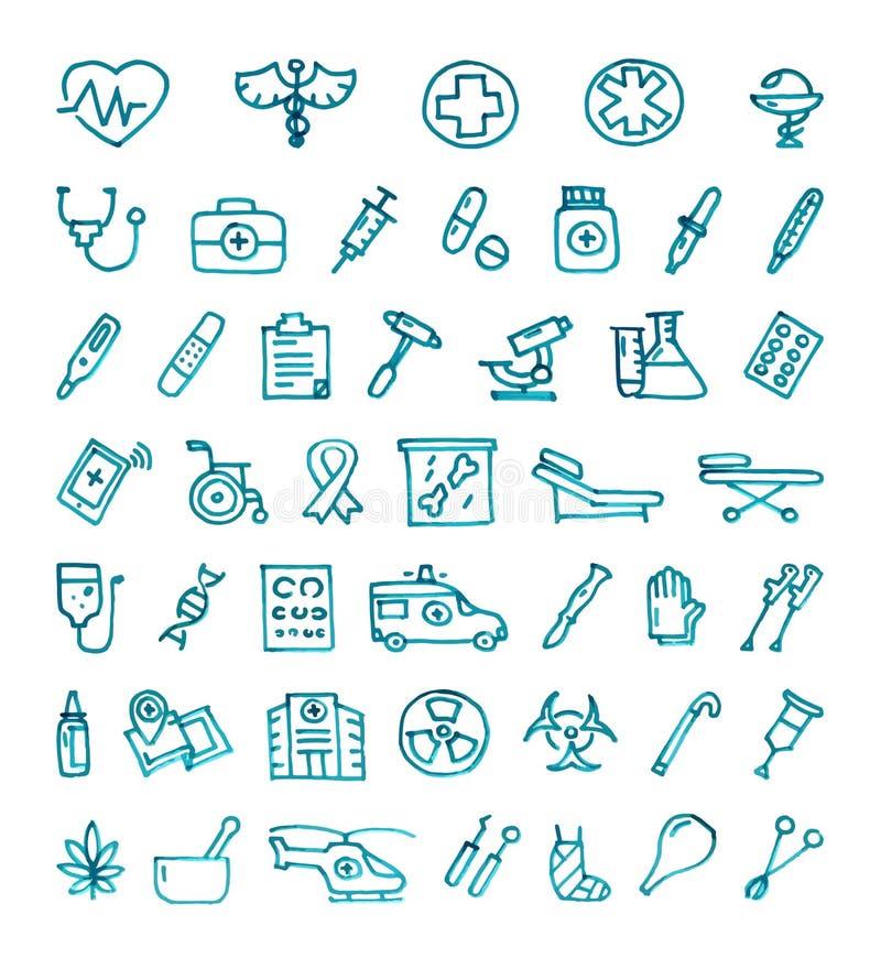 Jogo do ícone da medicina ilustração stock