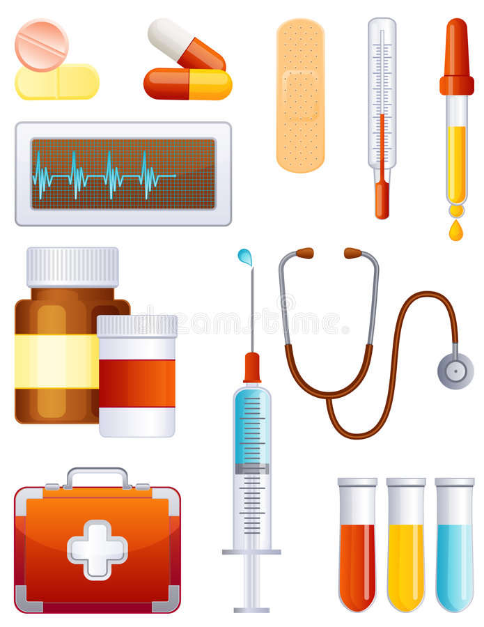 Jogo do ícone da medicina ilustração royalty free