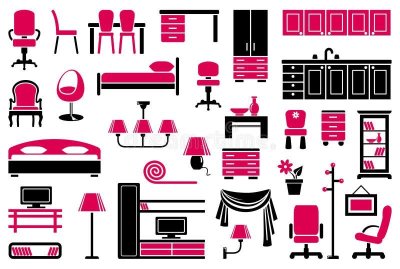 Jogo do ícone da mobília ilustração stock