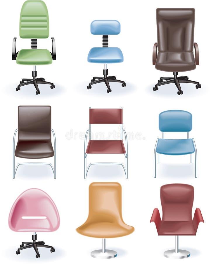 Jogo do ícone da mobília do vetor. Cadeiras ilustração royalty free