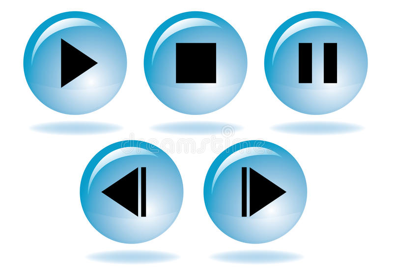 Jogo do ícone da navegação dos multimédios ilustração do vetor