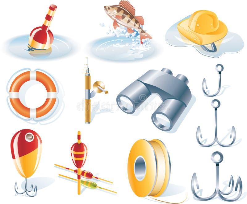 Jogo do ícone da pesca do vetor ilustração do vetor