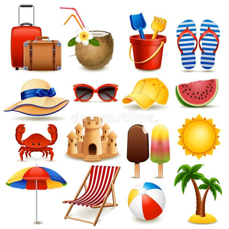 Jogo do ícone da praia ilustração do vetor