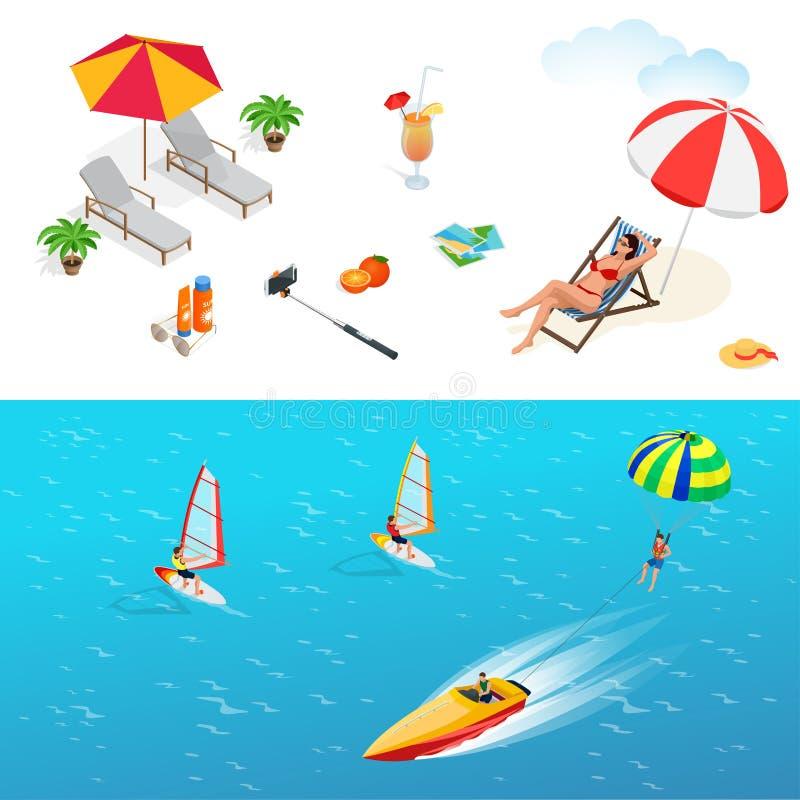 Jogo do ícone da praia Menina em um roupa de banho em uma cadeira de plataforma ilustração stock