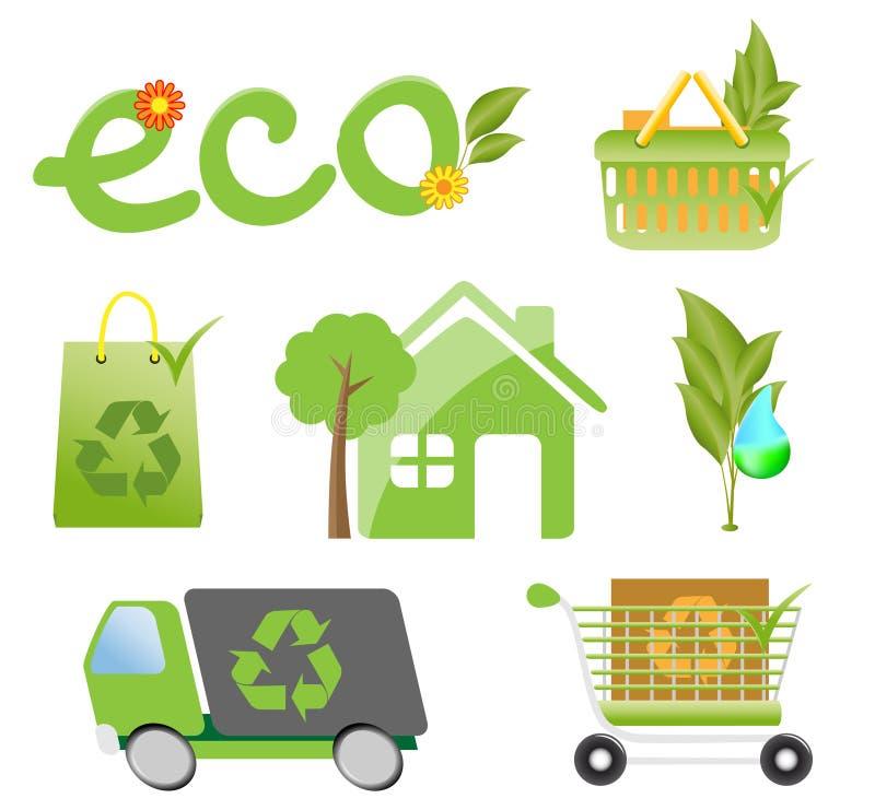 Jogo do ícone da proteção de ambiente ilustração royalty free